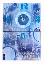 "Horloge dyptique ""rêve bleu"""