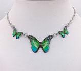 Pendentif 3 papillons vert bleu - inox