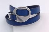 Bracelet réglable cuir bleu électrique