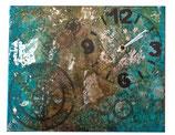 Horloge tons marron-turquoise