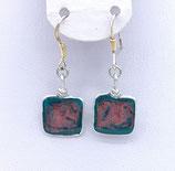Boucles d'oreilles effet vitrail bleu rose