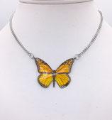 Pendentif papillon jaune - inox