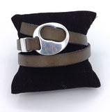 Bracelet réglable cuir kaki