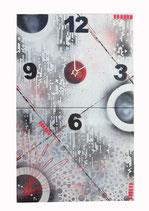 Horloge dyptique noir-blanc-rouge