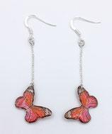 Boucles d'oreilles papillon rouge et rose