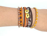 Bracelet manchette tons marron orange