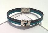 Grande taille Bracelet cuir gris et bleu