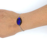 Bracelet en résine brillant reflet bleu foncé