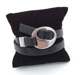Bracelet réglable cuir noir