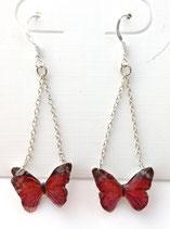 Boucles d'oreilles papillon rouge rose noir