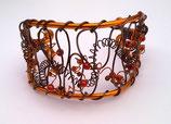 Bracelet manchette en fil aluminium orange