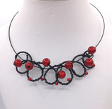 Collier perles ton rouge