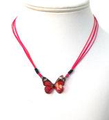 Pendentif papillon 3d rouge rose