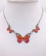 Pendentif 3 papillons rouge, rose - inox