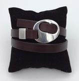 Bracelet réglable cuir marron foncé