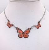 Pendentif 3 papillons rouge - inox