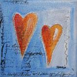 Herzbilder auf Leinwand 10x10 cm