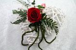 Rattanherz weiß mit konservierter Rose