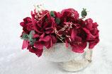 Budda Nuss Farbe weiß mit Hortensien in Rot