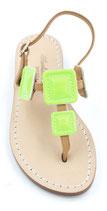 """Sandali """"Barbara"""" verde fluo con tacco di 1 cm"""