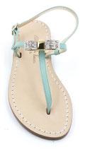 """Sandali artigianali modello """"Amina"""" verde Tiffany."""