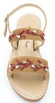 """Sandali ,a fascia modello """"Cleopatra """" con ricami in corallo ."""