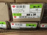 100 Stück Zylinderkopfschrauben Würth M8x20 DIN912 ISO 4762
