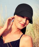 390 SunCap Laguna Scarf Sonnenschutz Black 50+ 8236-221  Farbe Schwarz. 100% Baumwolle. (für große Köpfe ab Gr. 55 bis 60)