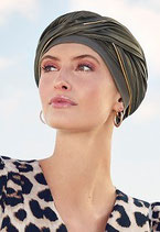 550 Emmy Turban 1499-726 mit Plissee Olive Gold Piping
