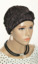 Shandra 55 Turban Cap Black&Pink Stripe