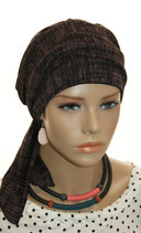 Mia City Turban 42 Black&Pink Stripe
