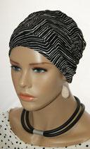 City Turban Cap 64 Black&White Stripe