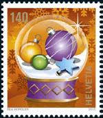 Kleinbogen à 10 x CHF 1.40 Weihnachts-Briefmarke 2015 'Kugeln'
