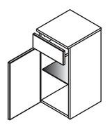 Lanzet Unterschrank 30x30x62cm - mit Schublade - Anschlag links