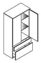 Lanzet Midischrank 60x30x122cm - mit Schubladen