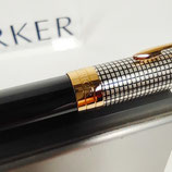 Penna a sfera Parker Sonnet Cisele argento e laccata nera
