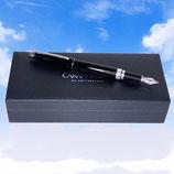 Penna stilografica Caran D'Ache Leman laccata nera e finiture in argento rodiato