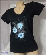 T-Shirt mit V-Ausschnitt für Frauen Motive Blume blau