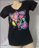 T-Shirt mit V-Ausschnitt für Frauen Motive Blume