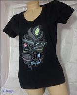 T-Shirt mit V-Ausschnitt für Frauen Motive Feder