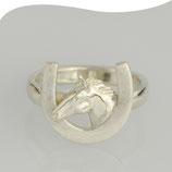 Ring • Pferdekopf mit Hufeisen • Silber