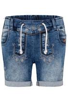 Damen-Jeansshorts im Lederhosenstyle