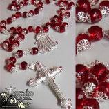 Rosario Cristal Rojo 12mm con copete