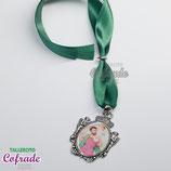 Medallita de coche con lazo - San Cristóbal