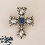 Cruz 03 dorada piedra azul