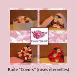 Les boîtes coeurs garnies de roses éternelles