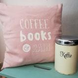 Kissen »Coffe, books & rain«