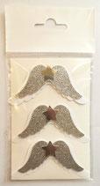 Sticker Flügel weiss/ silberglitter gross 01