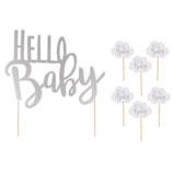 """Tortenstecker """" Hello Baby""""  silber"""