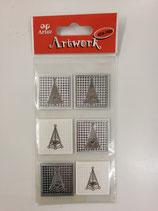 Sticker Tannenherz silber quadratisch